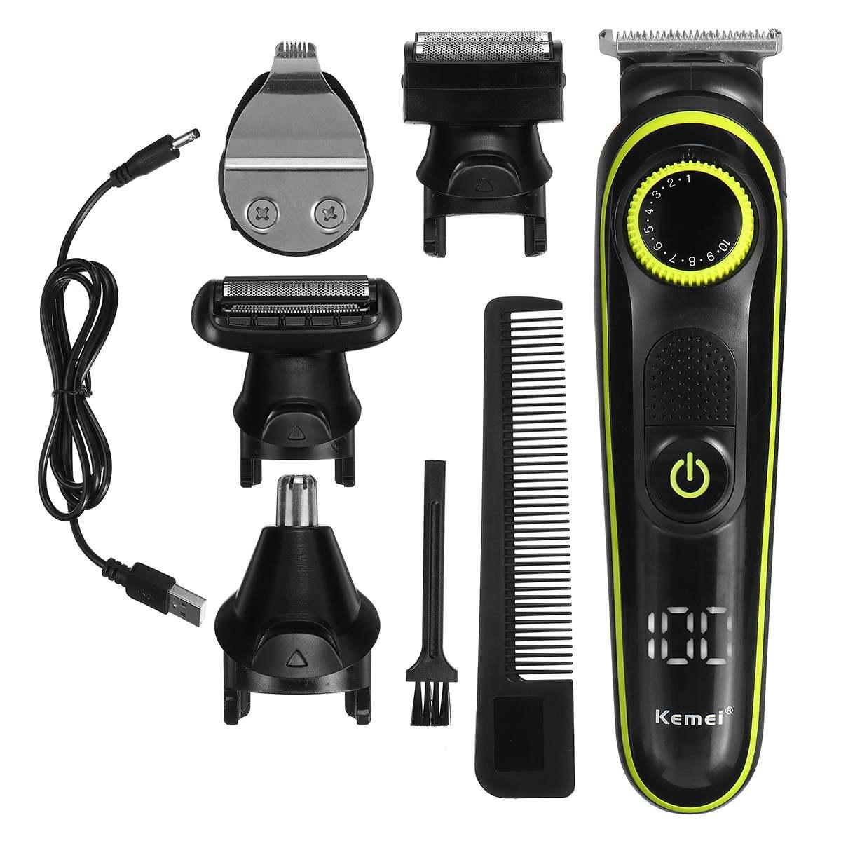 familiar clippers multifuncional usb recarregavel barbeador display led 5 1 cabecas cortador 05