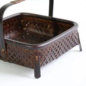 Image 2 - Bamboo woven storage basket hand made retro bamboo woven retro dried fruit tea set box kitchen interior household items