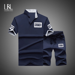Men Tracksuits 2020 Summer Short Sleeve Tee shirt+Shorts Set Casaul Slim Fit Sporting Suit Mens Masculino Two Pieces Sets Hombre