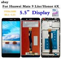 5.5 ''para huawei mate 9 lite BLN-AL10 1920x1080  display lcd touch screen digitador montagem honor 6x lcd substituição de logotipo sem