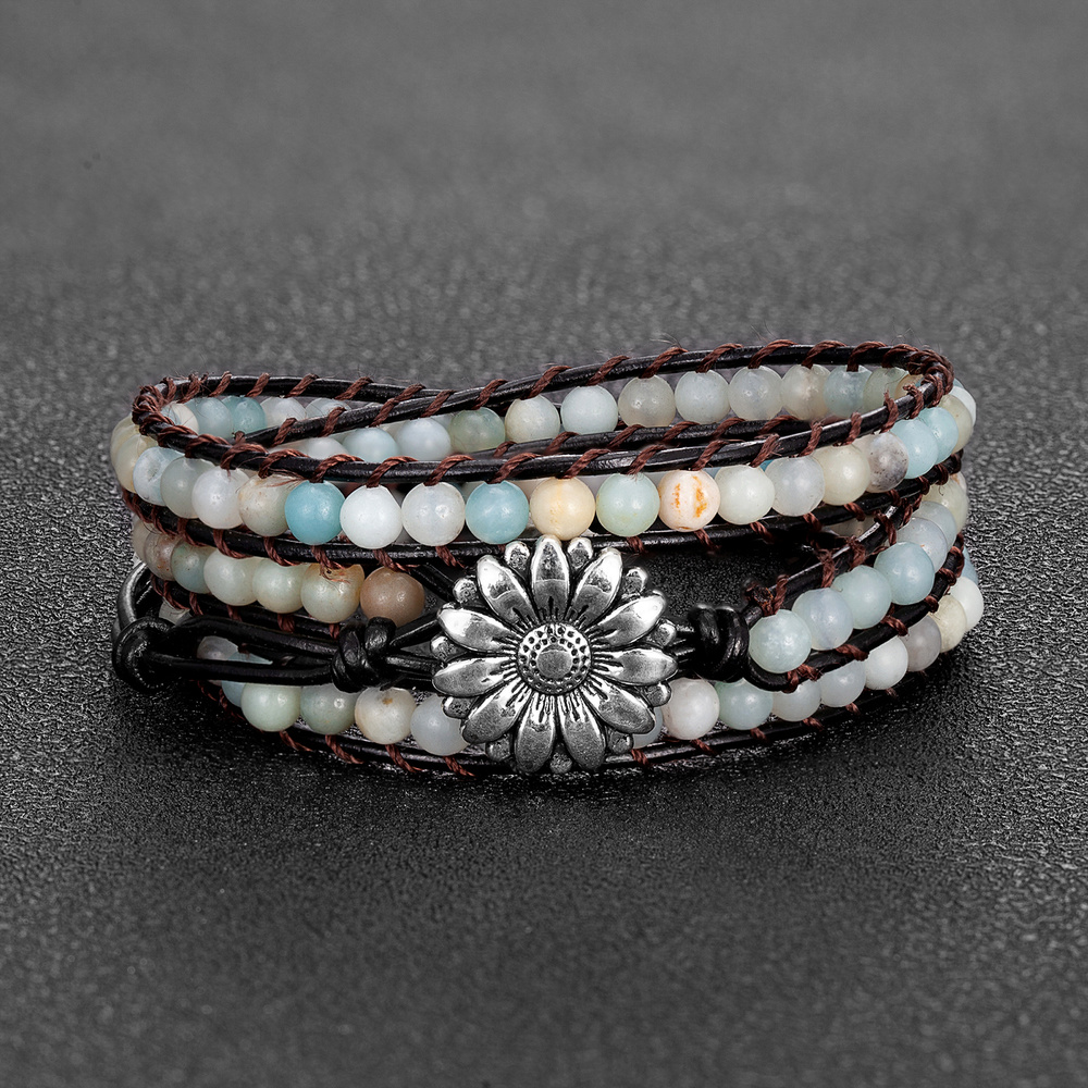 Bracelets Style Boho en Pierre Naturelle pour femmes, longueur de 4mm, 57cm, enroulé en cuir, Bijoux tournesol, Bijoux