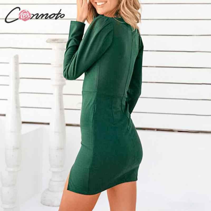Conmoto/осенне-зимнее женское короткое платье с v-образным вырезом и длинным рукавом, женское деловое шикарное тонкое Черное мини-платье с разрезом, большие размеры, Vestidos