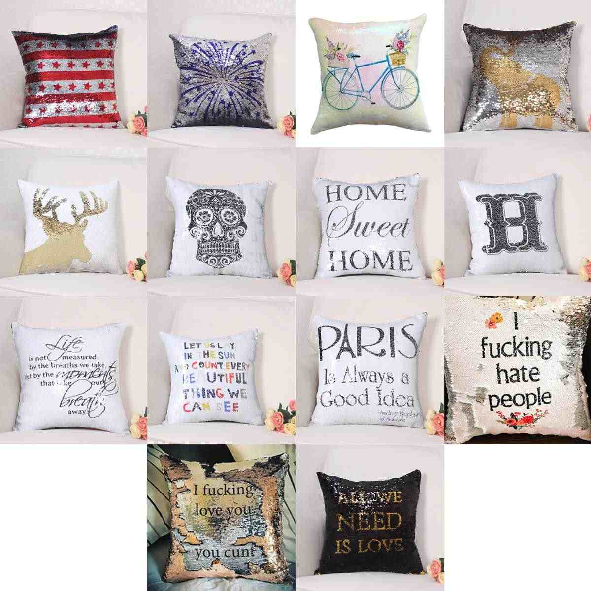 14 Type Mermaid Sequin Pillow Case Double Color Reversible Car Sofa Cushion Covers Funny Home Decor Decorative Pillowcase