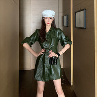Women PU leather sexy mini dress bodycon Fashion Zipper Puff Sleeve autumn button club dress