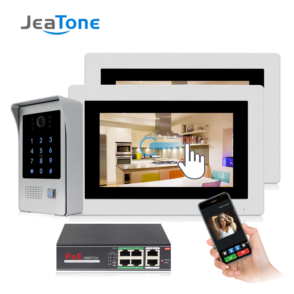 JeaTone 7 Inch WIFI IP Video Door Phone Intercom Entry System Touch Screen With RFIC/Password Function Access Control System