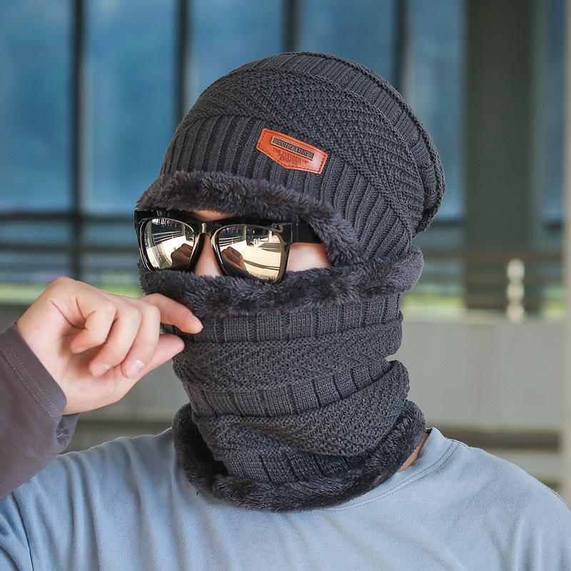 COKK зимние шапки с бархатным воротником для мужчин бини вязаная шапка с шарфом вельветовый утепленный комплект ветрозащитная уличная Зимняя распродажа - Цвет: Gray