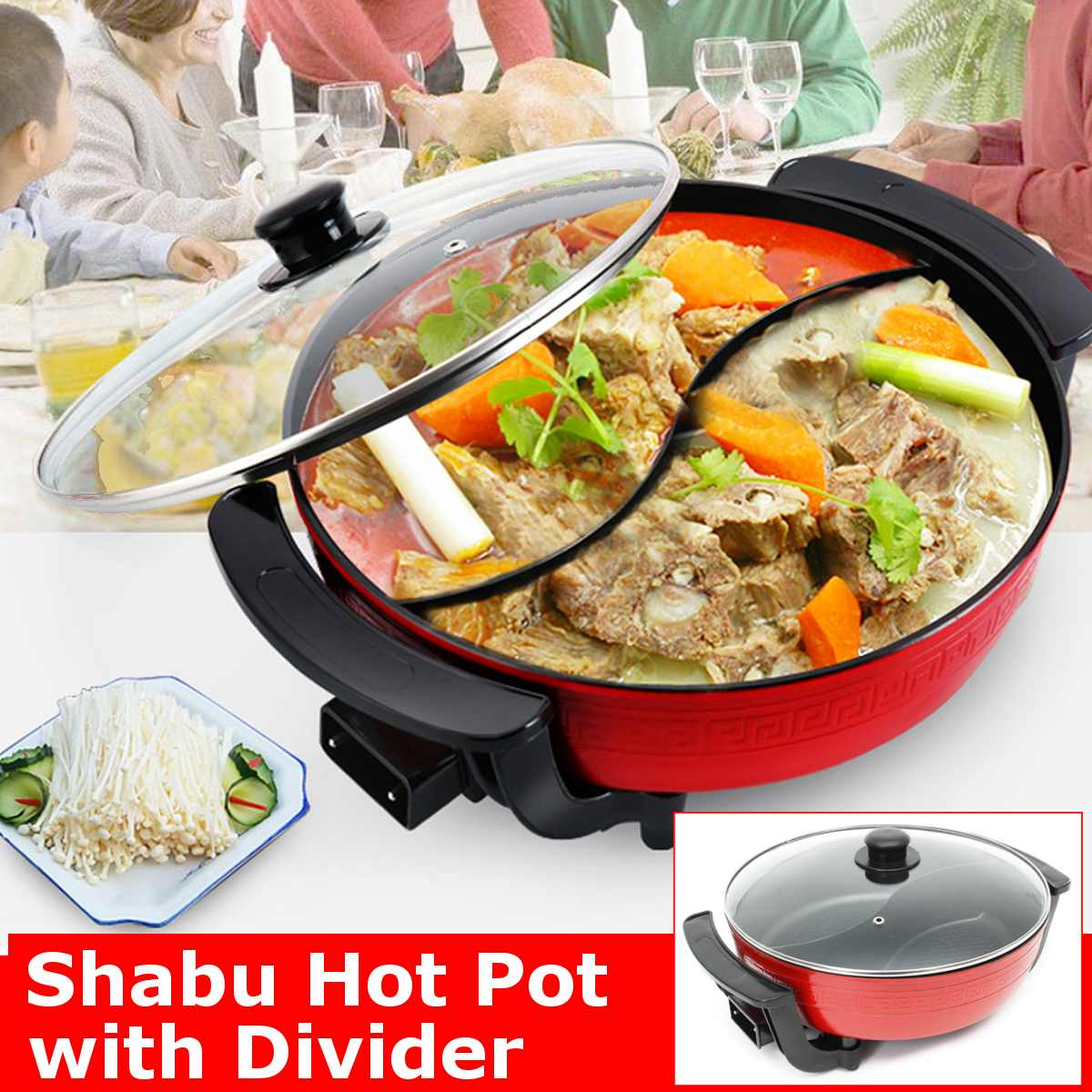 Cookware Pots Non-Stick Hot-Pot Double-Soup-Pots Induction Kitchen Electric 6L 1300W