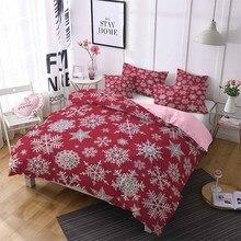 2/3pcs Microfiber Comforter Set Double Merry Christmas with Snowflake Bedding Pillow Sham Cartoon Snowman Bed Linen