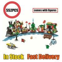 New CHRISTMAS Winter Train Technic City Figures Friends Santa Train Fit Legoings Technic Building Bricks Block Girls Toys Gift