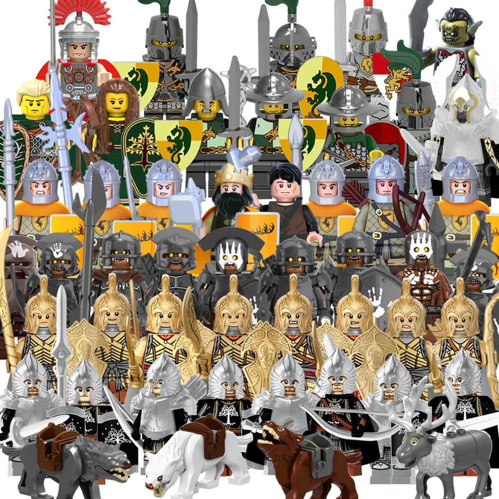 Lord Of The Rings Action  Legoing Figure Gondor Hero Soldier Knight Heavy Infantry Spear Building Blocks Toys Forodels Toys