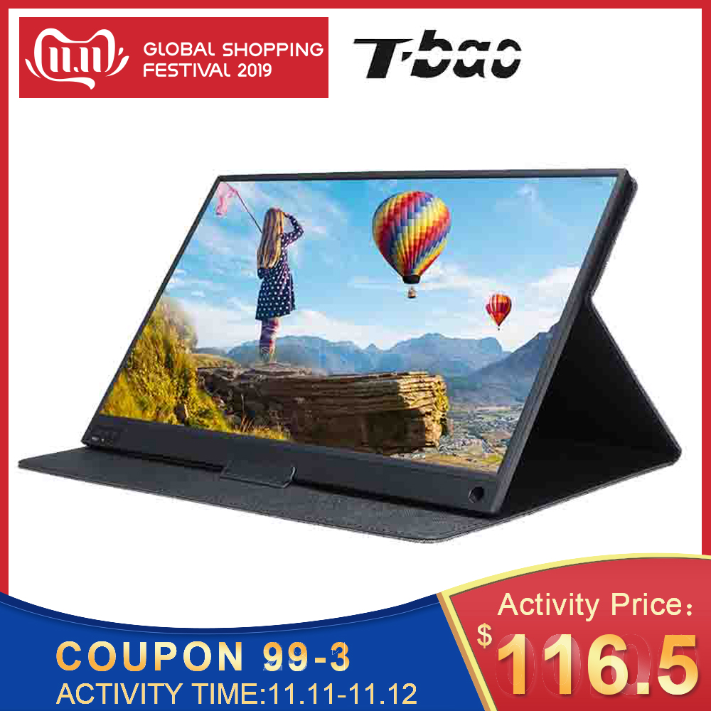 T bao T15A Portable Monitor 1920x1080 HD IPS 15.6 inch Display Computer LED Monitor with Leather Case for PS4/Xbox/Phone-in LCD Monitors from Computer & Office
