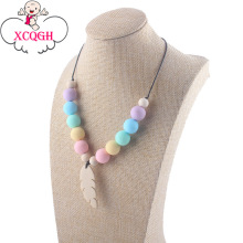 XCQGH Feather Wooden Pendant Baby Teether Necklace Newest Necklace Nursing Gift