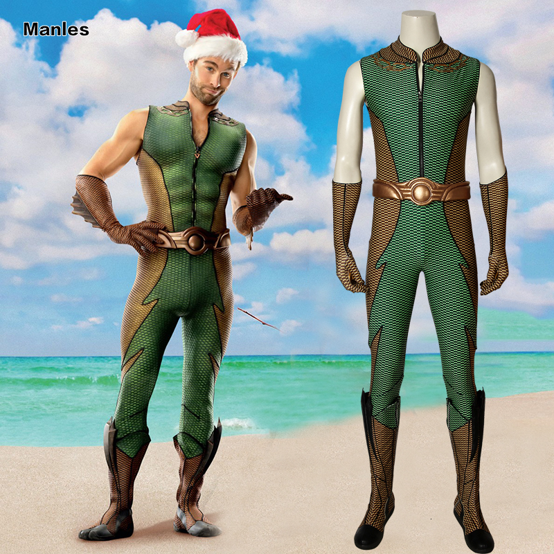 The Boys Season 1 Cospaly The Deep Kevin Superman Costume Adult Halloween Costumes For Unisex Green Jumpsuit Shoes Custom