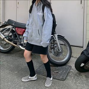 Image 3 - Felpe Delle Donne di Stile Coreano Studenti della Chiusura Lampo Allentata Grande Ulzzang All partita Semplice Lettera di Modo Stampato Zip up Delle Donne felpe