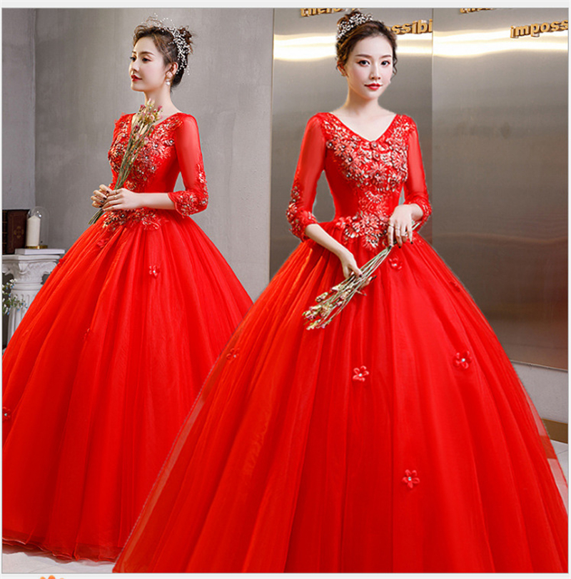 New Stock 2021 Gorgeous Red Lace Quinceanera Dresses Ball Gown Prom Dress Sweet 16 Dress For 15 Years Corset Vestidos De 15 Anos