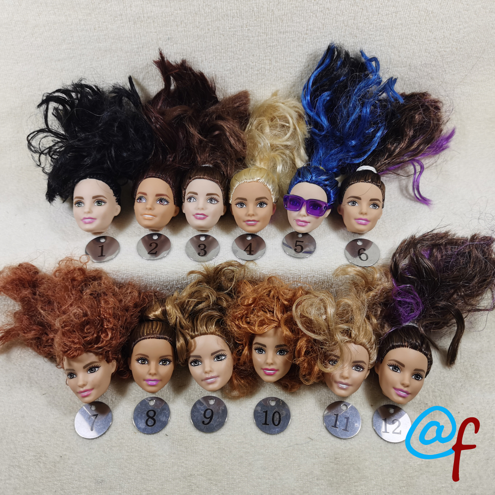 B666-4 Original Foreign Trade West Asia Dimples Beauty 1/6 OOAK NUDE Doll Head Mussed MIXED Hair For DIY