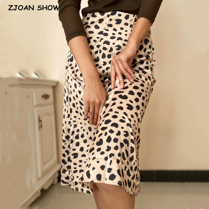 Retro High Waist Leopard Print Satin Skirt Like Silk Summer Women Elastic Waist Mid Long A-line Skirts Femme