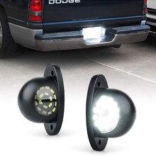 Conjunto completo branco da lâmpada da luz da placa de licença do diodo emissor de luz para 1994-2001 dodge ram 1500 2500 3500 pickup truck licença tag lâmpada de luz 2 pces