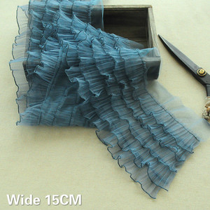 15CM Wide Five Layers Wave Pleated 3d Lace Ruffle Trim Fringe Ribbon Pettiskirt Wedding Dress DIY Sewing Guipure Decor 5Colors