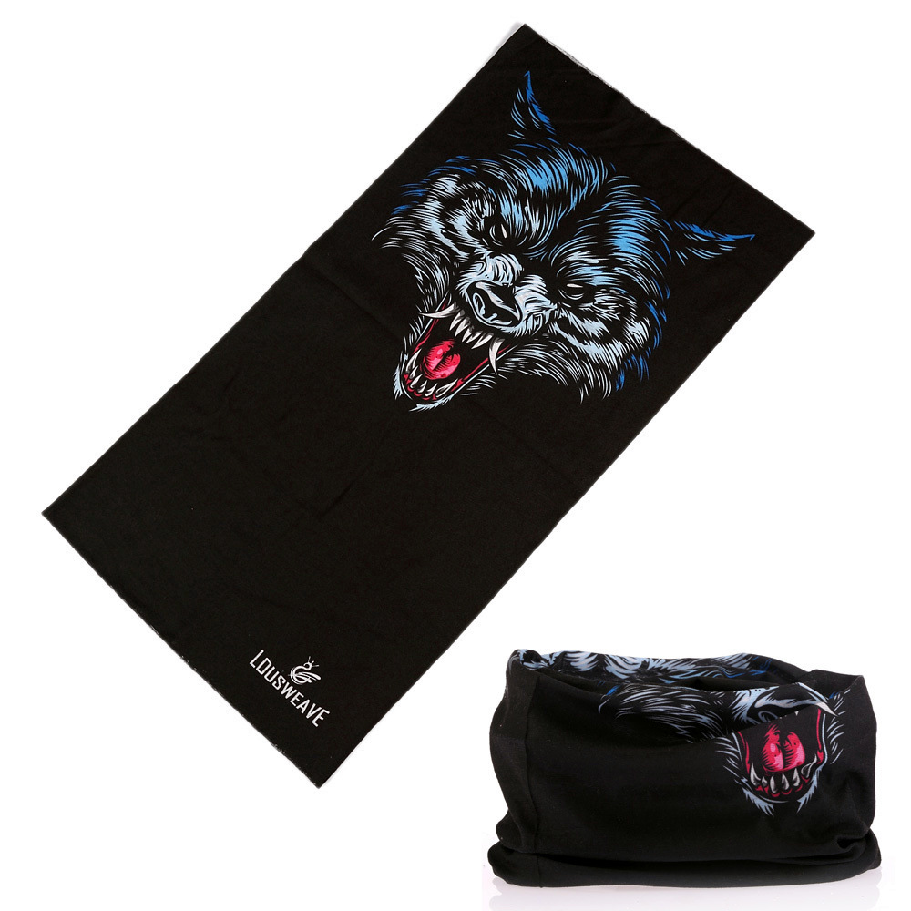 Unisex Multi Use Black Wolf Head Scarf Dustproof Outdoor Sport Half Face Shield Bike Motor Neck Headwear Neck Balaclava Bandana