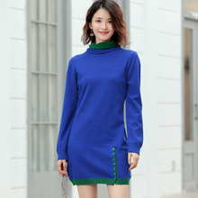 LHZSYY 2019Autumn Winter New Womens Knit Double Collar Dress Fashion Hot Versatile Pullover Warm Long Bottoming Sweater Bag hip