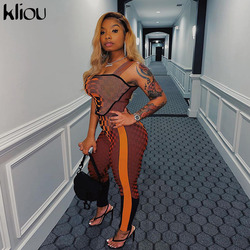 Kliou Printed Plaid Striped Two Piece Set Women Sleeveless Crop Top And Stretchy Pants Bodycon Matching Outfits Streetwear Hot