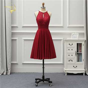 Jeanne Love Sexy Knee Length Cocktail Dresses 2020 New Arrival Lace Simple Cocktail Party Dress Elegant Halter Women JO002944