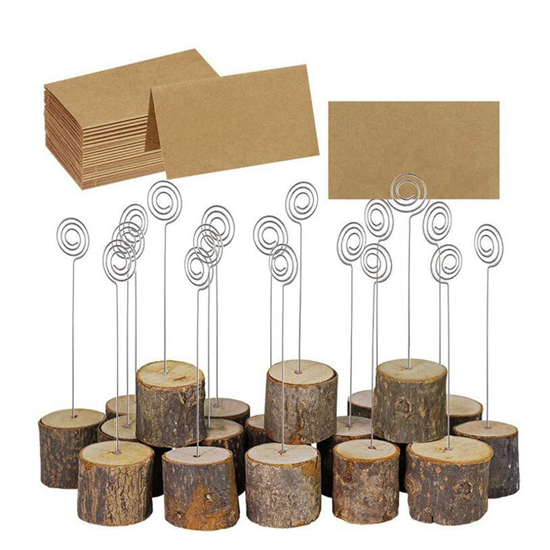 10Pcs Wedding Wooden Stump Name Place Card Stand Rack Table Number Card Clip Wood Craft Decoration Home Party Supplies
