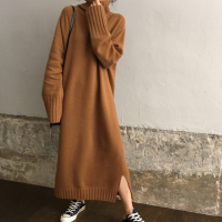 Split Autumn Winter Sweater Dress Women Oversize Knitted Dress Turtleneck Long Sleeve Warm Loose Long Dress Thicken Pullovers
