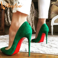 Red Bottom Green Stilettos High Heels Women Pumps Pointed Toe Large Size 12 16 Ladies Summer Fashion Mature Sexy Shoes Shofoo