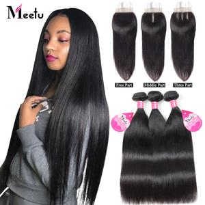 Meetu Straight Hair Bundles with Closure Malaysian Hair 3 Bundles with Closure 100% Human Hair Bundles with Closure Non Remy(China)