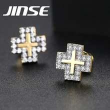 Jinse мужские серьги гвоздики золотого цвета крест корейский