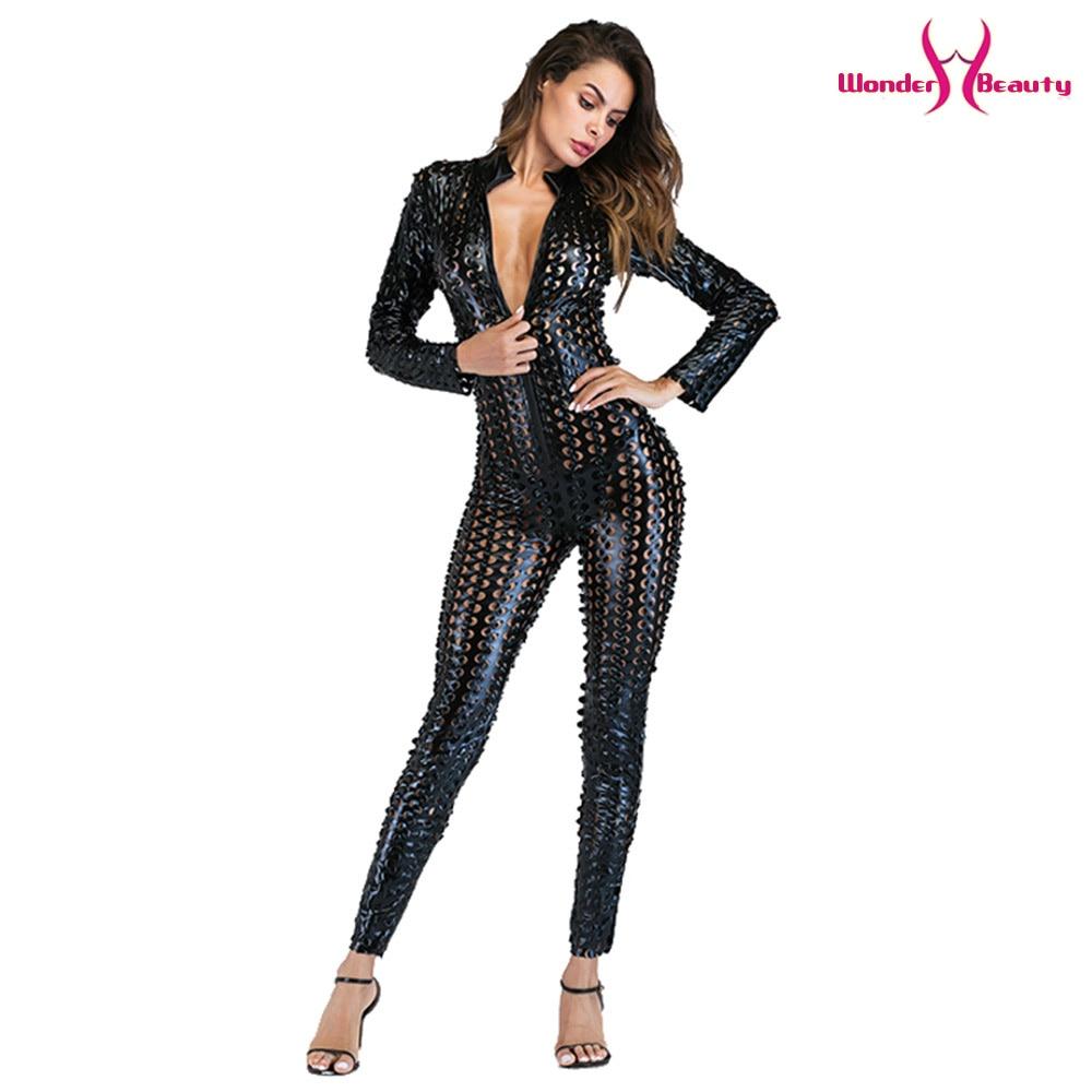 wetlook catsuit pu faux leather jumpsuit zentai costume women zipper front hollow out hole pole dance nightclub vinyl bodysuit (34)