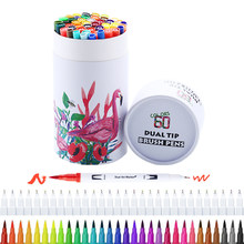 FineLiner – stylo à brosse à double pointe, marqueur d'art aquarelle pour dessin, peinture, calligraphie, livre de dessin, papeterie, 60 couleurs
