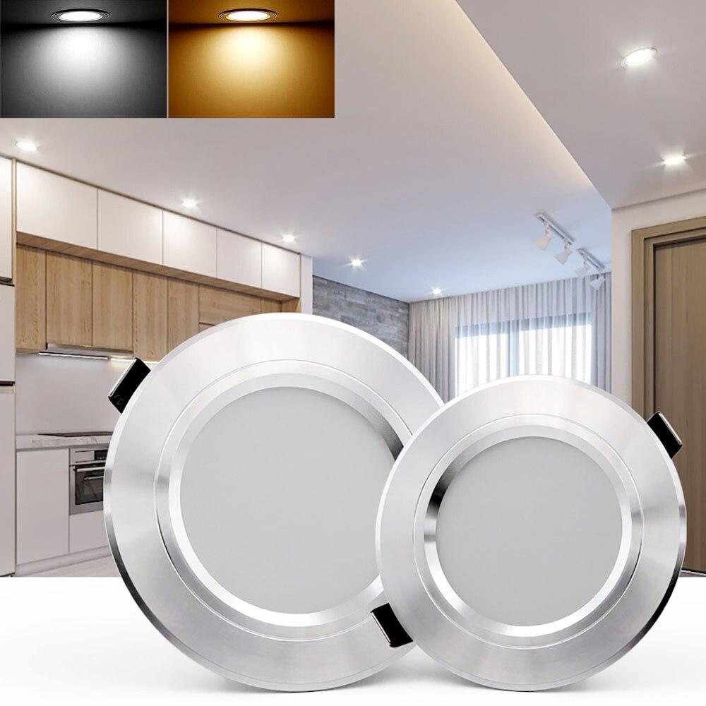 LED Downlight 12W Aluminum 220V LED Down Light Ceiling Recessed Spot Light Slim Round living room Decor Panel Light