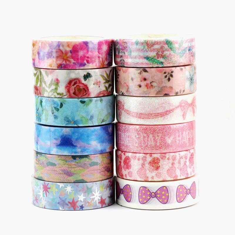 NEW Beautiful Flower Valentine's Washi Tape Set Japanese Paper Scrapbook Planner Adhesive Stickers Masking Tape Decor Stationery
