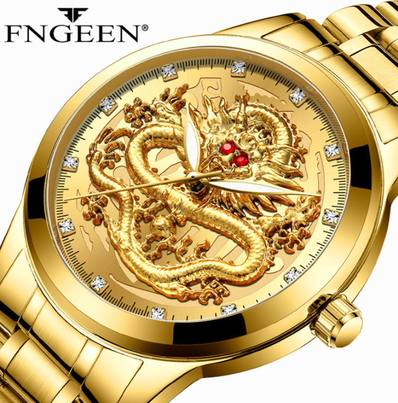 3D Dragon Face Watches FNGEEN Top Brand Luxury Gold Men Luxury Quartz Watch Life Waterproof Full Solid Wristwatch Dropshipping