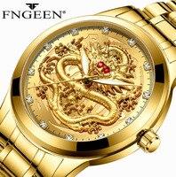 Fngeen topo marca de luxo ouro men luxo relógio de quartzo 3d vida à prova dwaterproof água dragão rosto relógios sólidos completos relógio pulso dropshipping