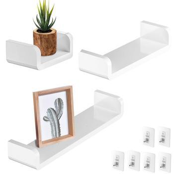 Juego de 3 estantes flotantes de plástico blanco U repisa de pared de exhibición no perforadora extraíble Living cocina baño decoración del hogar