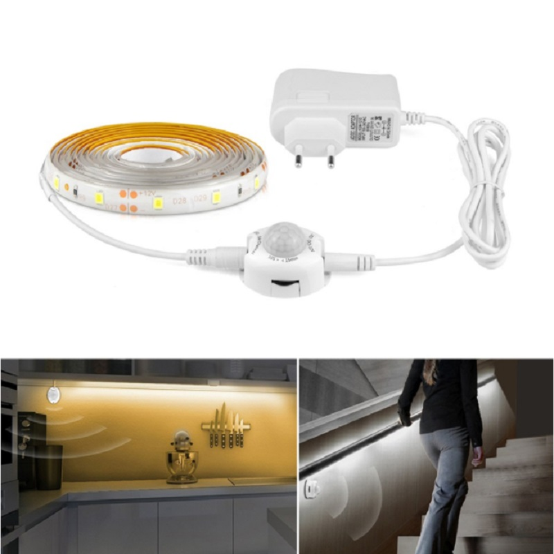 PIR Motion Sensor LED Under Cabinet Light 1m 2m 3m Battery Power Plug Type SMD2835 Strip  For Closet Wardrobe Stairs Bedroom