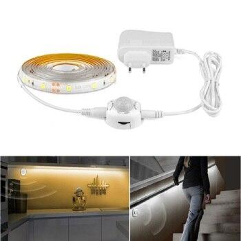 Pir Hareket Sensorlu Led Dolap Alti Isigi 1m 2m 3m Pil Priz Tipi Smd2835 Serit Dolap Dolap Merdiven Yatak Odasi