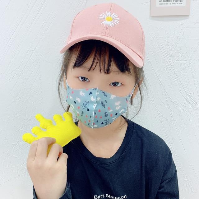 10Pcs PM2.5 Summer Children Mask Breathable Cartoon Pattern Unicorn Anti Smog Mask 3D Dust Mask Fits 4-12 Years Old Kid Washable 3