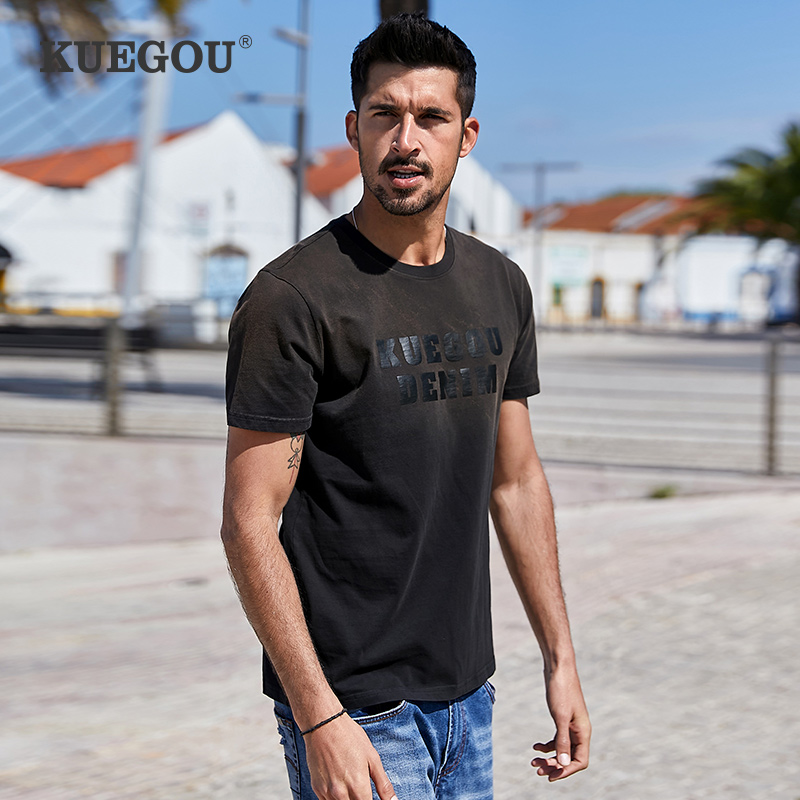 KUEGOU 100% Cotton Classic Letters Printing T-shirt Men Short Sleeves Tshirt Summer Fashion Men's T Shirt Top Plus Size ZT-3309