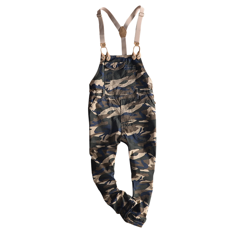 Summer Fashion Camouflage Casual Overalls Mens Cotton Ankle Length Jumpsuits Retro Cargo Pencil Pants Size M-3XL Boys Suspenders