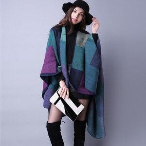 Image 4 - brand 2020 women winter scarf warmer shawl ladies Vintage plaid Blanket knit wrap Cashmere poncho capes female echarpe pashmina