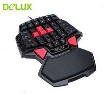 Deluxe T9 tek elle oyun klavyesi ergonomik bilgisayar oyun klavyesi RGB arka işık Tablet kablosuz klavye dizüstü PC Mac için