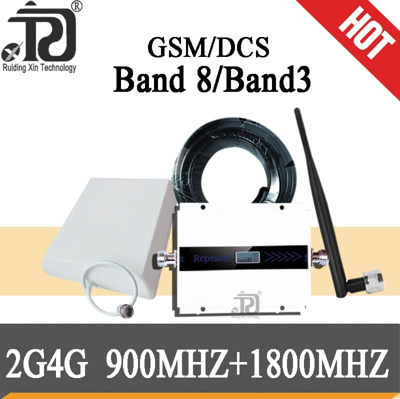4g Signal Booster GSM 900 UMTS 1800 Mhz Dual Band Cellular Signal Booster 900/1800 Gsm Mobile Signal Repeater 2G 3G 4G Antenna