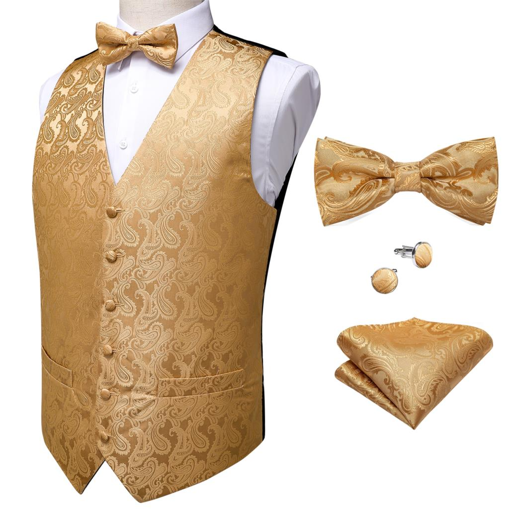 Paisley jacquard Classic Tuxedo Boys White Formal suit with Bow tie and vest