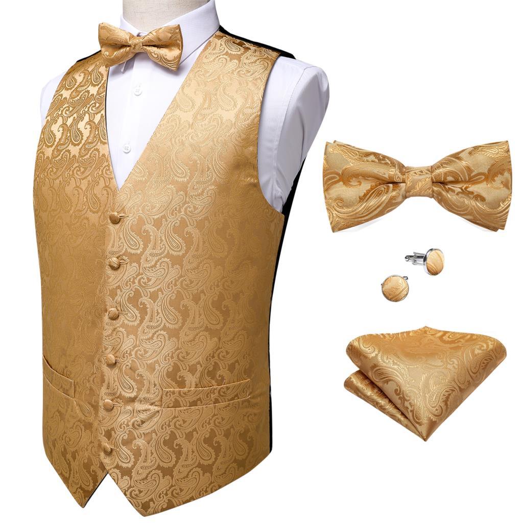 Barry.Wang Formal Dress Gold Blue Black Paisley Wedding Vest Suit Men Waistcoat Vest Suit Bow Tie Set Pocket Square DiBanGu