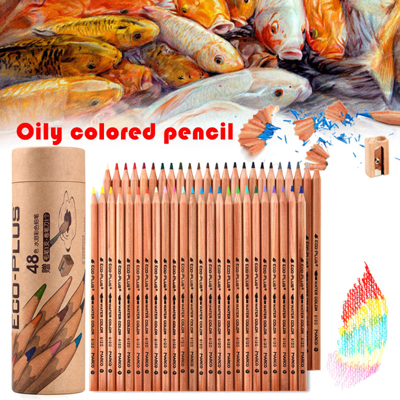 24/36/48/72 Pure Wood Lead-free Poisonous Water-soluble Color Pencil Student Art Painting Sketch Oil Base Color